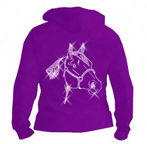 Personalised Diamante / Rhinestone Horse hoodie 5-13 yrs with Childs name (Gift)