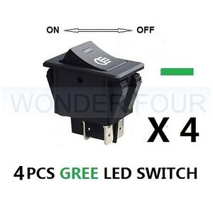 4PCS ON OFF 12V GREE LED ROCKER SWITCH TOGGLE for headlight fog spot hid lights