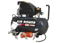 SEALEY SAC5020EPK COMPRESSOR 50 LITRE DIRECT DRIVE 2HP + 4PC AIR ACCESSORY KIT