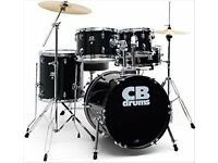 CB. DRUM KIT In Black with sticks and drum book