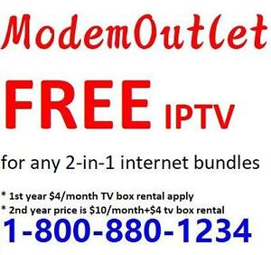 FREE 1 year IPTV service + FREE Wireless modem + FREE Domestic LD for any 2-in-1 Internet + phone bundle, 1-800-880-1234