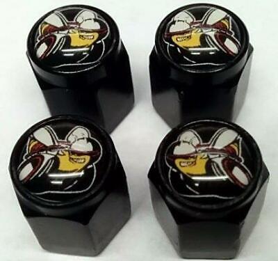 Dodge Challenger Charger Scat Pack Black Aluminum Valve Stem Tire Caps, Set Of 4