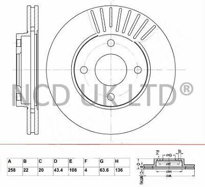 JURATEK FRONT BRAKE DISC FOR FORD FIESTA V 1.3 1299CCM 69HP 51KW (PETROL)