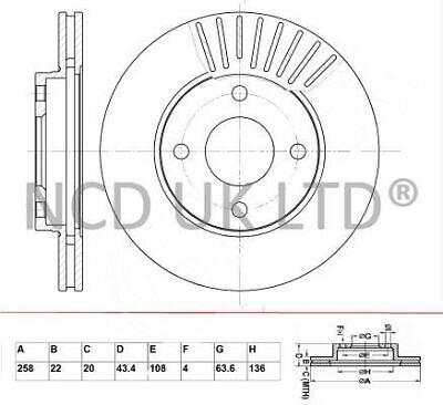 JURATEK FRONT BRAKE DISC FOR FORD FUSION 1.6 TDCI 1560CCM 90HP 66KW (DIESEL)