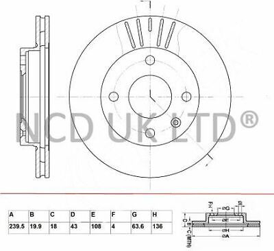 JURATEK FRONT BRAKE DISC FOR FORD ESCORT 1.8 D 1753CCM 60HP 44KW (DIESEL)