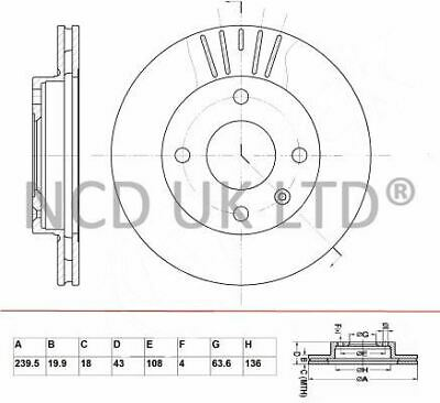 JURATEK FRONT BRAKE DISC FOR FORD COURIER 1.3 1299CCM 60HP 44KW (PETROL)