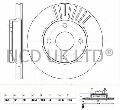 JURATEK FRONT BRAKE DISC FOR FORD FIESTA V 1.4 TDCI 1399CCM 68HP 50KW (DIESEL)