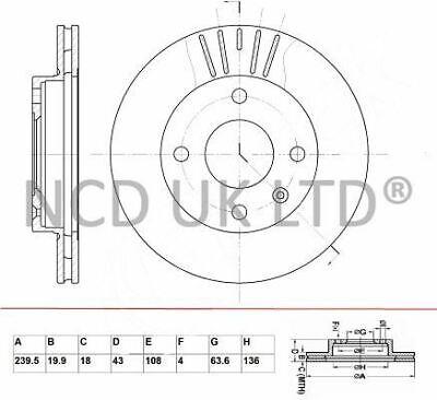JURATEK FRONT BRAKE DISC FOR FORD COURIER 1.8 DI 1753CCM 75HP 55KW (DIESEL)