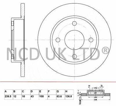 JURATEK FRONT BRAKE DISC FOR FORD FIESTA 1.3 1297CCM 57HP 42KW (PETROL)