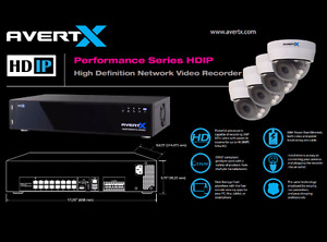AvertX 4TB High-Definition Network Video Recorder + 4 Zooming Do