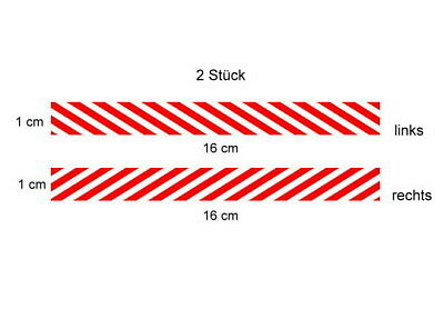 2 Warnstreifen Modellbau Aufkleber Decal im Wedico-/ Tamiya-Maßst. 1:14,5 -1:16