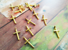 BULK Charms Cross Charms Antiqued Gold Wholesale Charms 50 pieces Religious