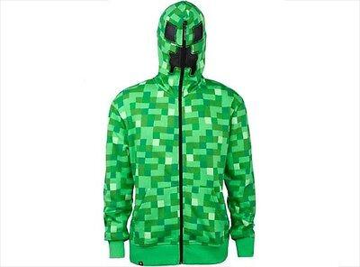 Minecraft Creeper Premium Costume Gamer Zipped Mask Zip Up Hoodie