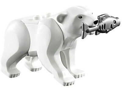 NEW LEGO POLAR BEAR w/FISH MINIFIG LOT 60036 60062 arctic animal figure toys