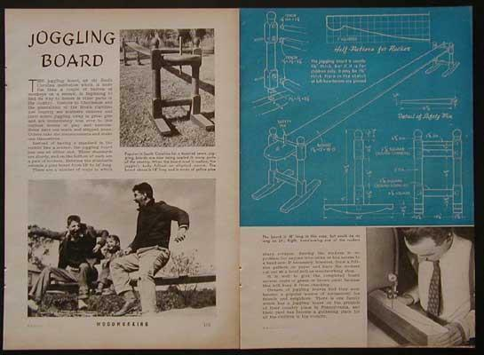 Vintage Joggling Board 1941 HowTo build PLANS South Carolina