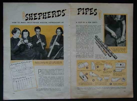 Bamboo Shepards Pipes 1940 How-To build PLANS *Treble Alto Tenor*