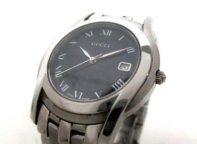 Auth GUCCI 5500M Black Silver 0083689 Men