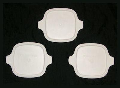 3 NEW Corning Ware Petite Lids White Plastic Covers fit P-41 P-43-B FREE SHIP MC