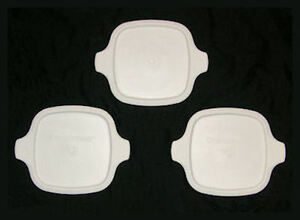 3 NEW Corning Ware Petite Lids White Plastic Covers fit P-41 P-43-B FREE SHIP MC