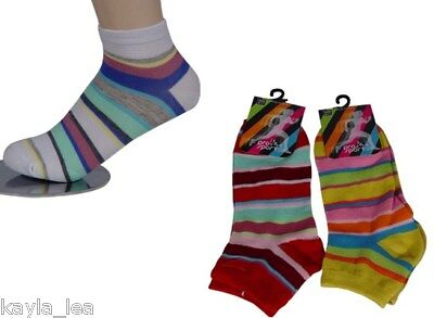 Multi Stripe Womens/Teen Ankle Socks 3 Pair Pack 9-11  - Teen Socks