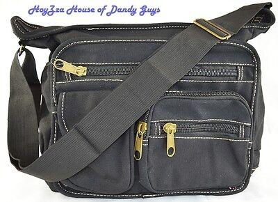 Canvas Medium Size Casual Messenger Shoulder Bag- Black