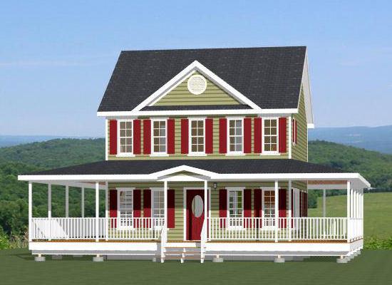 24x24 House -- 21 Bedroom 1.5 Bath -- PDF FloorPlan -- 1,008 sqft -- Model 12A