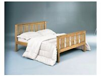 5ft king size solid pine Shaker style bed frame with memory foam mattress. Free delivery