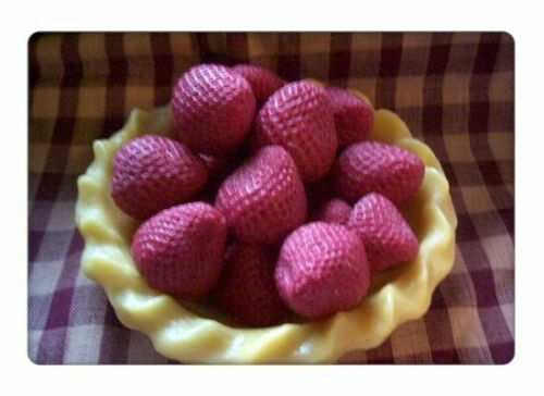 Medium wax strawberries,embeds,tarts. Set of 15 FREE SHIPPING