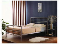 King size, 5ft, Metal Bed, Frame, Ortho, Sprung, Mattress, both, boxed,Silver, Under storage, king,