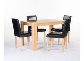 **FAST & FREE UK DELIVERY** HEAVY DUTY SOLID OAK DINING TABLE SET 4 LEATHER CUSHIONED CHAIRS