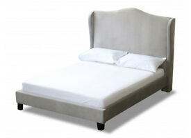 Double bed, Wing bed, Crushed Velvet, grey, 9 inch sprung Mattress. kingsize, High wing Headboard,