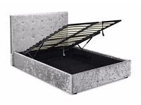 Stunning Silver Crushed Velvet Ottoman Bed Frame, 4ft6 double, with quality mattress, FREE DELIVERY