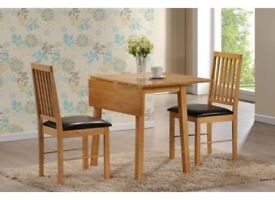 BRAND NEW DROP LEAF DINING TABLE SET WITH 2 LEATHER CUSHIONED CHAIRS IN OAK COLOR