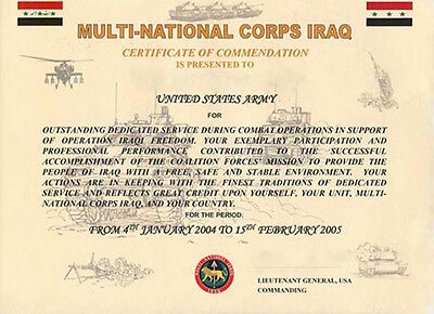 Iraq Certificate of Commendation Operation Iraqi Freedom 17 Mult-National