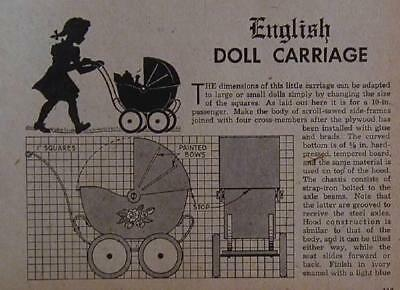 English Doll Carriage & Dump Truck 1948 How-To build PLANS Wooden Toys