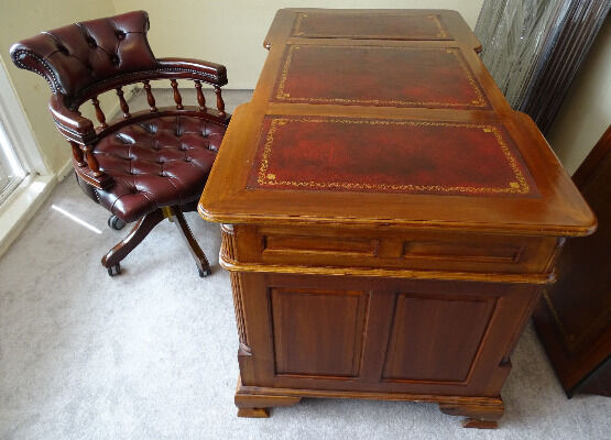 SOLID MAHOGANY ANTIQUE RED NEW LEATHER TOP DOUBLE SIDED DESK & CHESTERFIELD  CAPTAINS CHAIR - SOLID MAHOGANY ANTIQUE RED NEW LEATHER TOP DOUBLE SIDED DESK