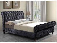 Gorgeous velvet sleigh beds with mattress