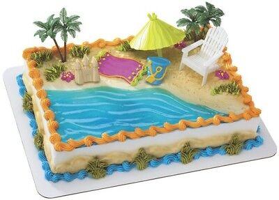 Hawaiin Birthday Party (LUAU HAWAIIN BEACH Cake Decoration Topper Party Sand Cupcake Birthday)