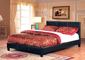 CLASSIC BED DOUBLE LEATHER BED FRAME WITH ORTHOPAEDIC MEMORY FOAM MATTRESS BLACK - BROWN