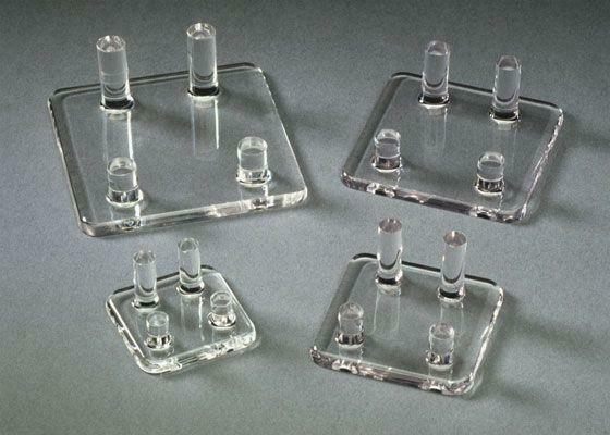Acrylic Four Peg Stands display rocks & minerals, fossils, geodes, coins, art