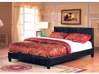 DOUBLE LEATHER BEDS FRAME *** FAUX LEATHER DOUBLE BED BLACK/BROWN MATTRESS OPTION AVAILABLE NOW