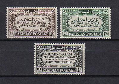 Pakistan 1949 Jinnah Set Of 3 Scott  44 46 Mnh
