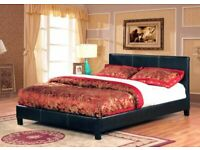 furniture for home-Leather Bed Frame in Black, Brown and White Color With Mattress Choices
