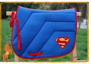 Tapis De Selle Superman Bleu Fabrique En France Id E Cadeau Ebay