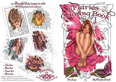 Marjolein Gulinski Pink Rose Fairy Faery Faires Coloring Book Retired HTF