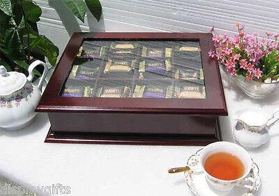 Elegant Tea Bag Chest Cabinet with glass door cover, solid wood, TEA1-Maho