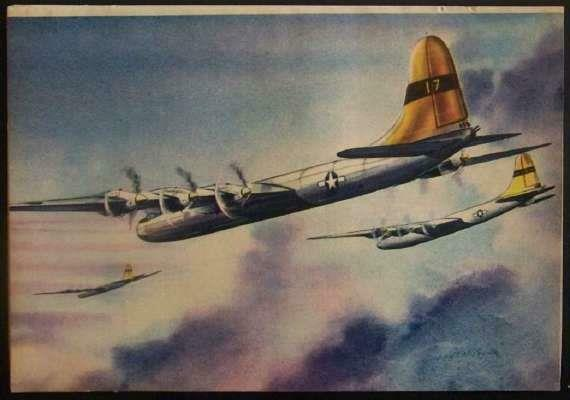 1946 B-36 Convair USAF Superbomber vintage COLOR PIN-UP