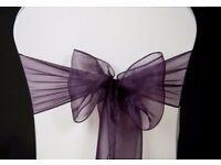 88 used purple ORGANZA SASHES CHAIR COVER BOW SASH