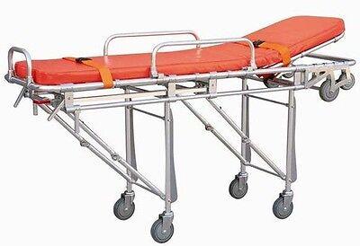 Medical Ambulance Stretcher Belt Foldable Wheels Portable Equipment Emergency