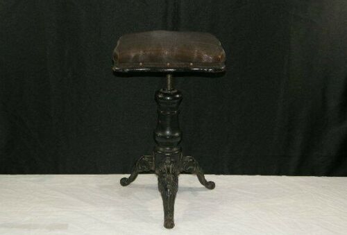 Antique Victorian Adjustable Piano Organ Stool w/ Cast Iron Legs